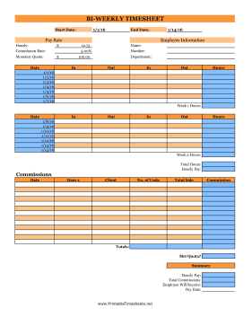 Bi-Weekly Commissions Timesheet Monetary Quota