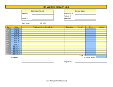 Bi-Weekly Driver Time Sheet 1 Trip