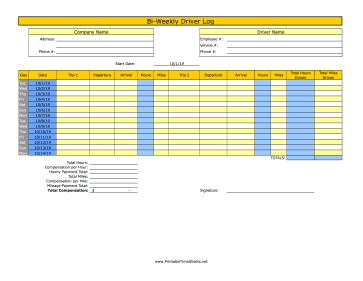 Bi-Weekly Driver Time Sheet With Mileage 2 Trips