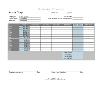 Bi-Weekly Timesheet With PTO Calculation