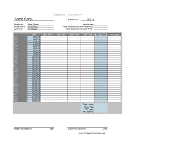 Monthly Timesheet With Daily PTO Calculation