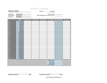 Monthly Timesheet With PTO Calculation