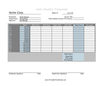 Semi-Monthly Timesheet With PTO Calculation