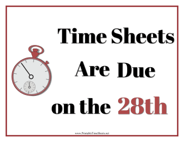 Timesheets Sign 28th