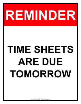 Timesheets Sign Tomorrow