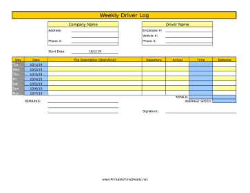 Weekly Driver Time Sheet 1 Trip
