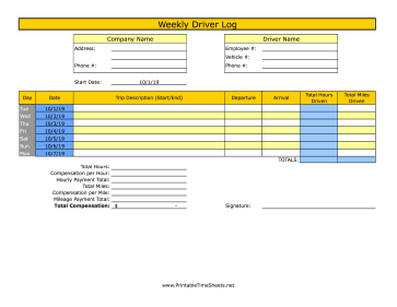 Weekly Driver Time Sheet With Mileage 1 Trip