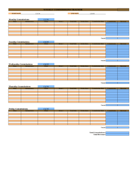 Weekly Employer Commissions Timesheet
