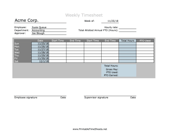 Weekly Timesheet With PTO Calculation