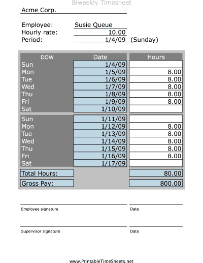 Simple Biweekly Timesheet Printable Time Sheet