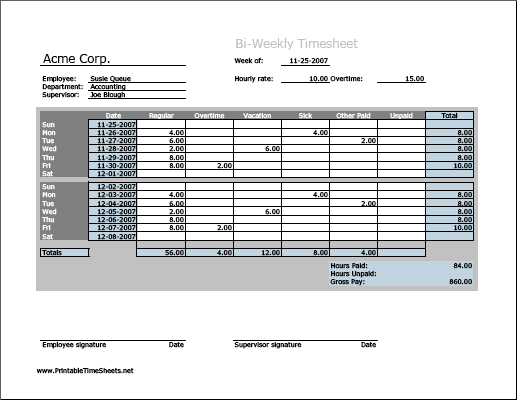 Biweekly Timesheet (horizontal orientation, work hours entered directly)