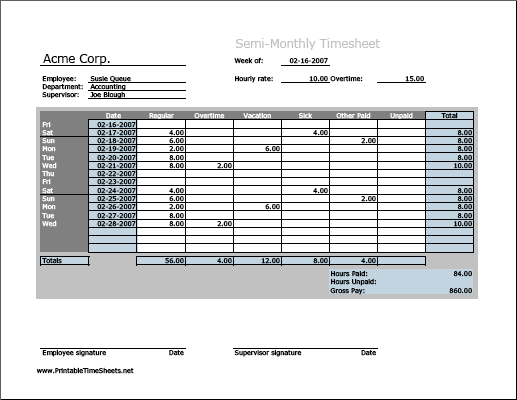 Semi-monthly Timesheet (horizontal orientation, work hours entered directly)