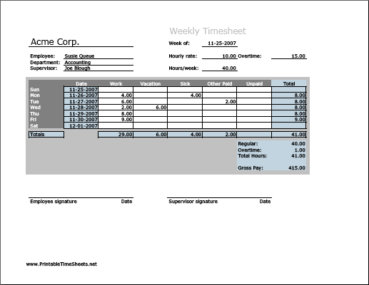Weekly Timesheet (horizontal orientation, work hours entered directly)