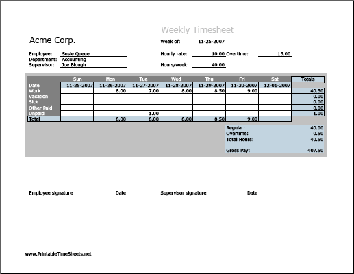 Weekly Timesheet (vertical orientation, work hours entered directly)