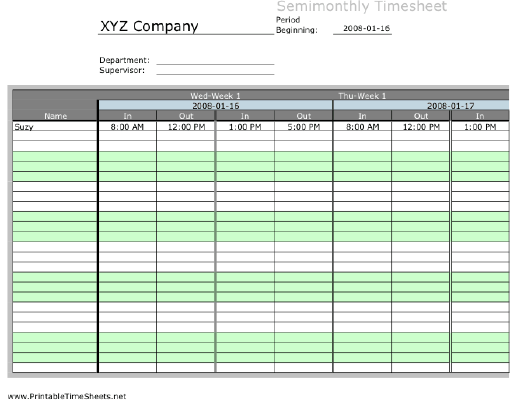 Semi-monthly Multiple-Employee Timesheet, 2 work periods