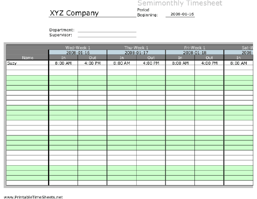 Semi-monthly Multiple-Employee Timesheet, 1 work period