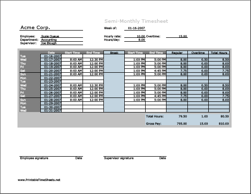Semi-monthly Timesheet (horizontal orientation) with overtime calculation & breaktime column