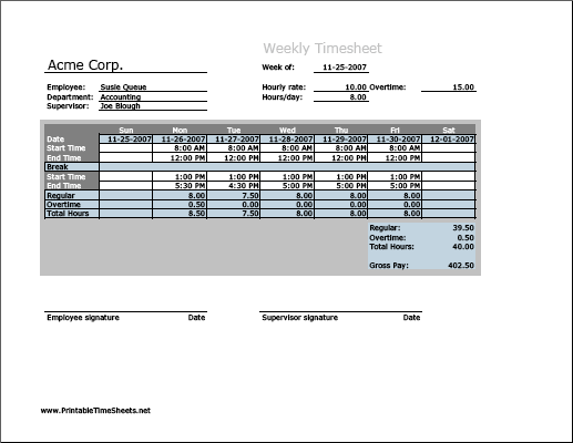 Weekly Timesheet (vertical Orientation) With Overtime Calculation U0026  Breaktime Column