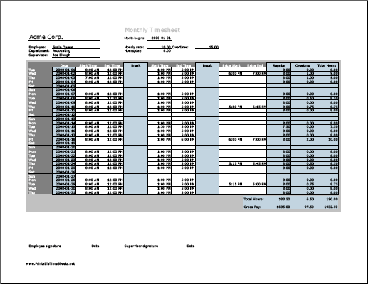 Monthly Timesheet with overtime calculation & breaktime column, 3 work periods