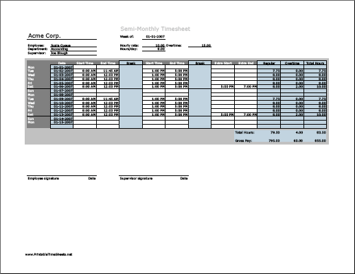 Semi-monthly Timesheet (horizontal orientation) with overtime calculation & breaktime column, 3 work periods