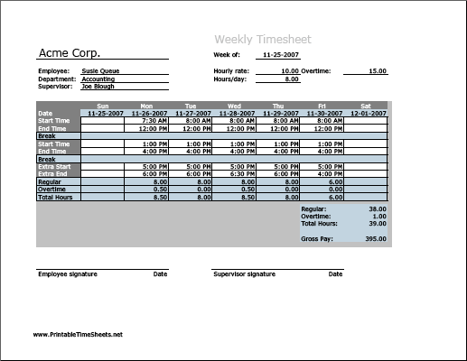 Weekly Timesheet (vertical orientation) with overtime calculation ...