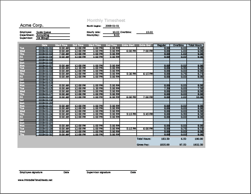 Monthly Timesheet with overtime calculation, 3 work periods