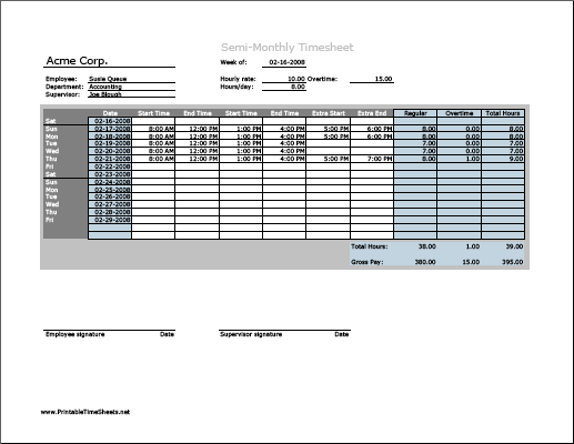 Semi-monthly Timesheet (horizontal orientation) with overtime calculation, 3 work periods