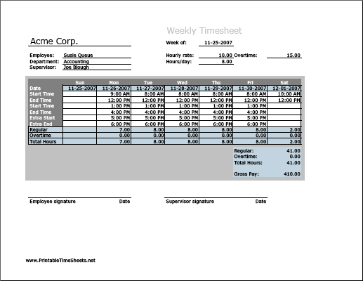 Weekly Timesheet (vertical orientation) with overtime calculation, 3 work periods