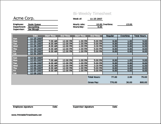 biweekly timesheet horizontal orientation with overtime calculation