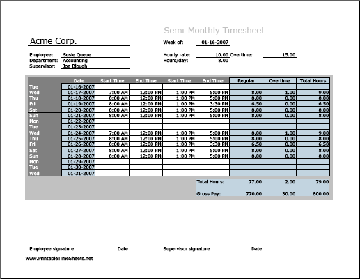 semi monthly timesheet horizontal orientation with overtime calculation