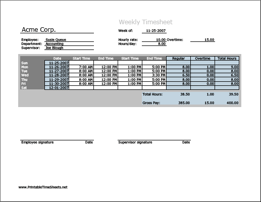 Weekly Timesheet (horizontal orientation) with overtime calculation