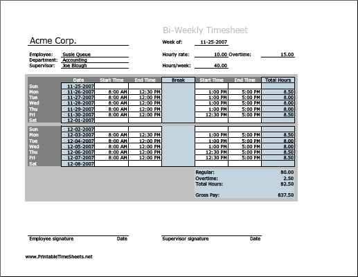 Biweekly Timesheet (horizontal orientation) with overtime calculation & breaktime column