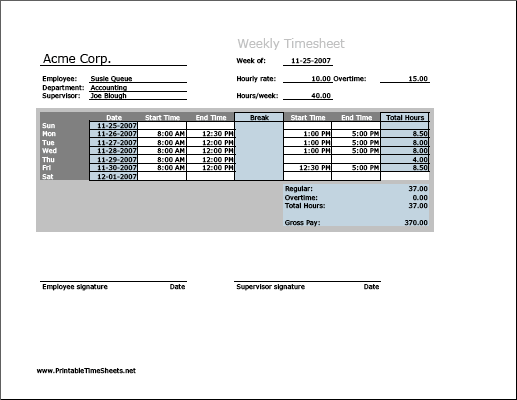 Weekly Timesheet (horizontal orientation) with overtime calculation & breaktime column