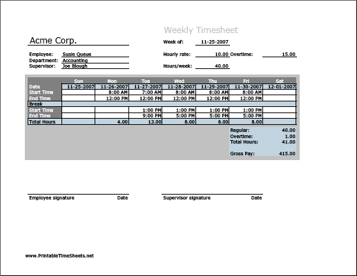 Weekly Timesheet (vertical orientation) with overtime calculation & breaktime column