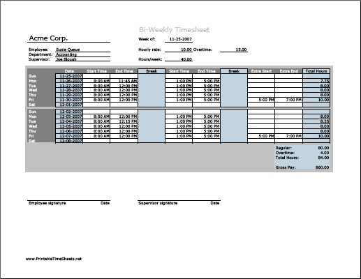 Biweekly Timesheet (horizontal orientation) with overtime calculation & breaktime column, 3 work periods