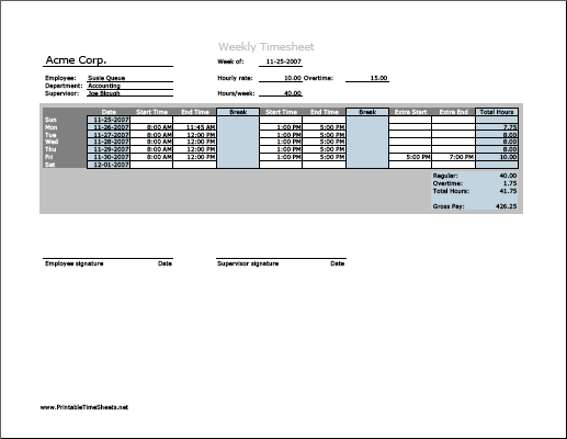 Weekly Timesheet (horizontal orientation) with overtime calculation & breaktime column, 3 work periods