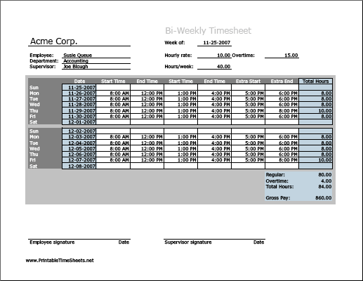 Biweekly Timesheet (horizontal orientation) with overtime calculation, 3 work periods