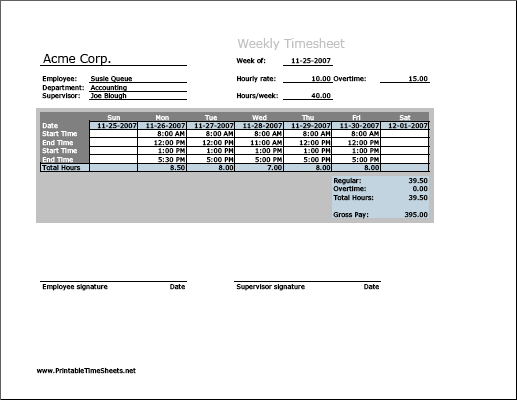Weekly Timesheet (vertical orientation) with overtime calculation