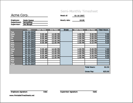 Semi-monthly Timesheet (horizontal orientation) with breaktime column