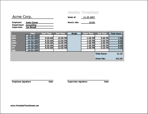 Weekly Timesheet (horizontal orientation) with breaktime column
