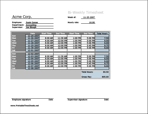 Biweekly Timesheet (horizontal Orientation)  Printable Time Card Template