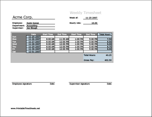 weekly timesheet horizontal orientation printable time sheet